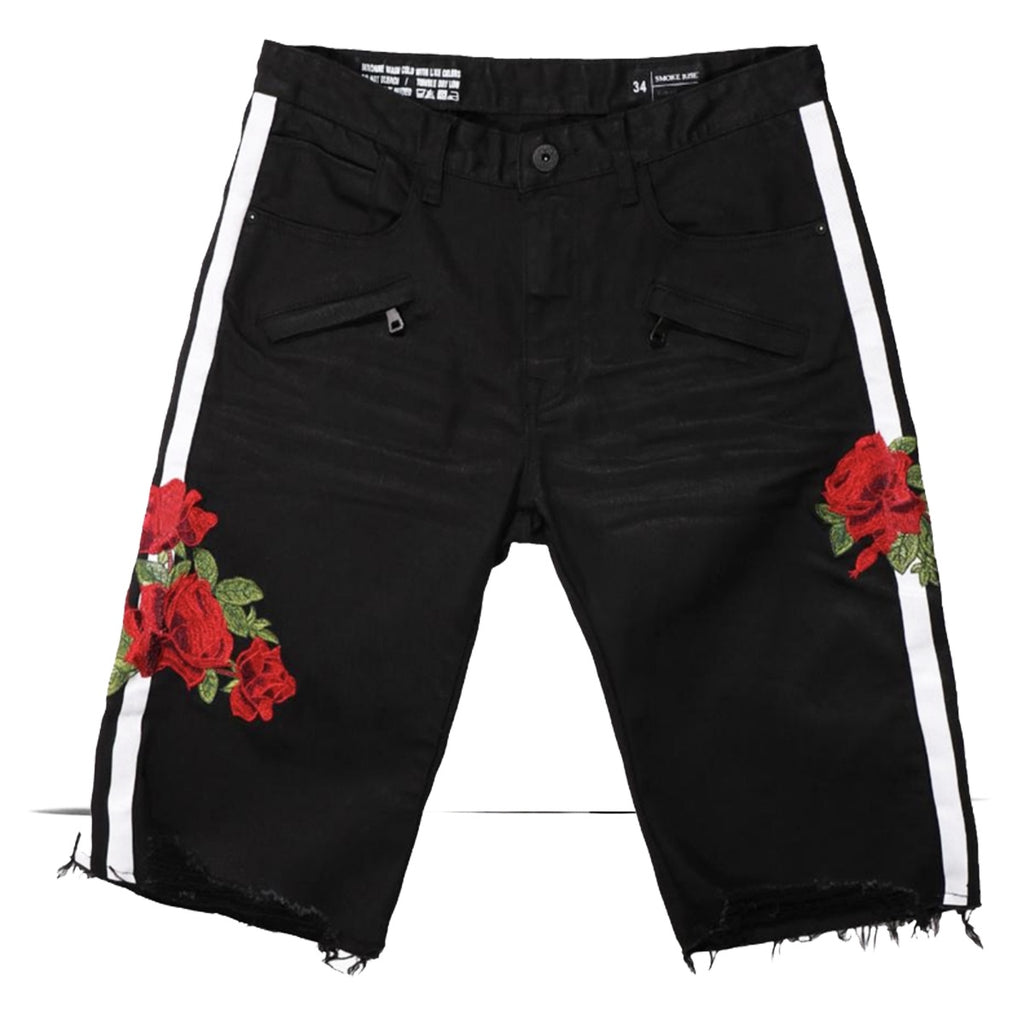 Distressed Rose Stripe Shorts (Black) /C1