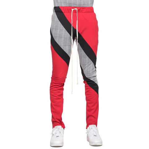 Plaid Block Track Pants (Red/Blk)