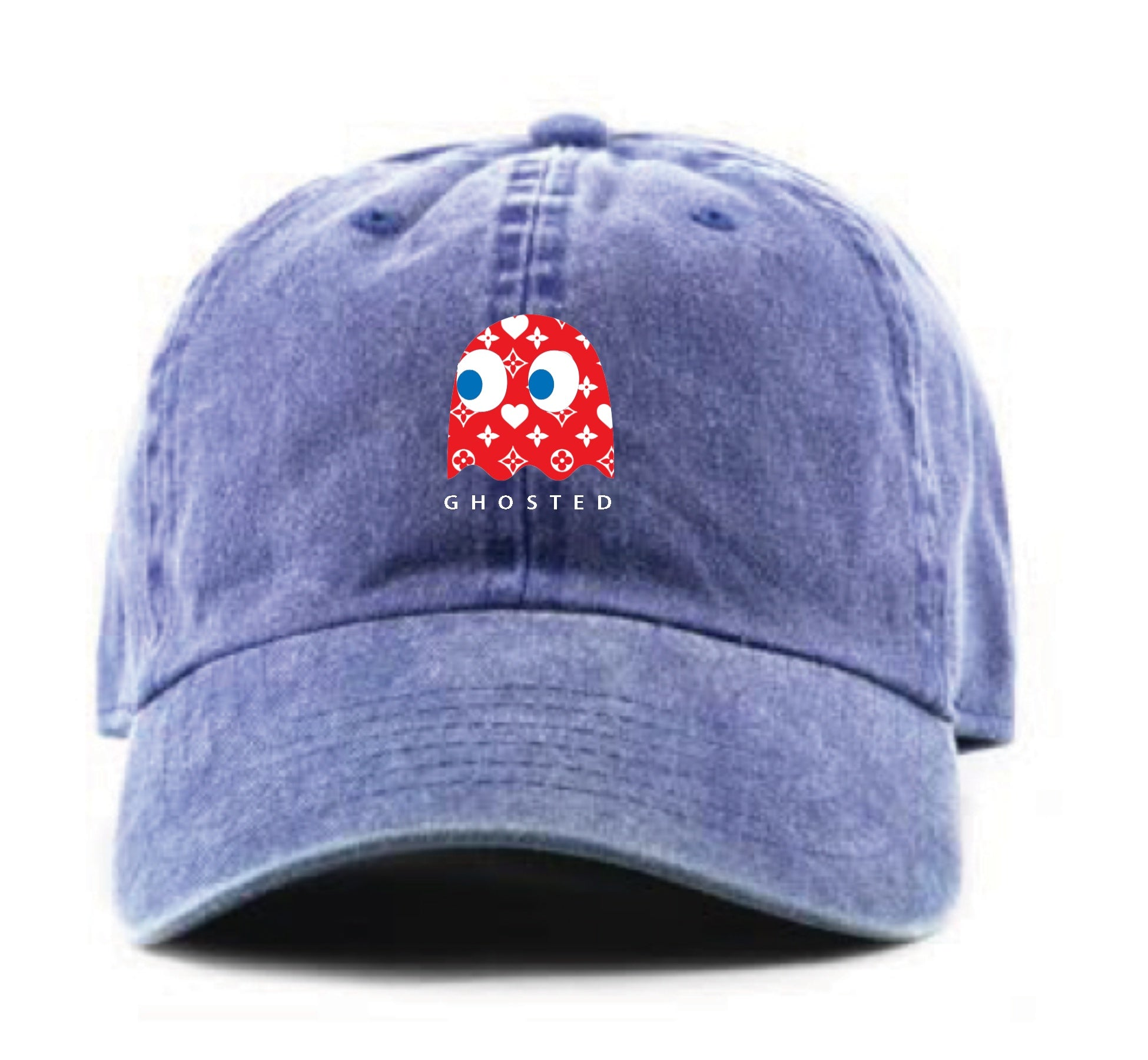Ghosted Red Pacman Dad Hat (Denim Blue)