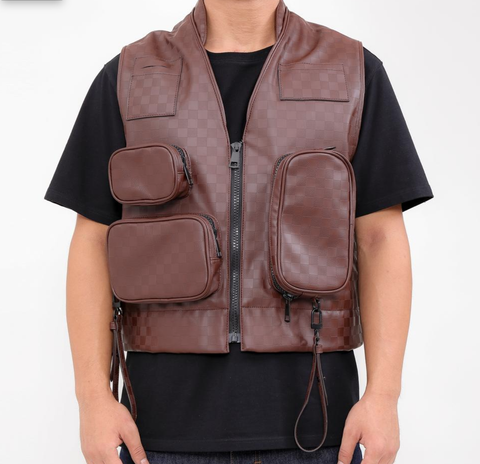 Utility Veg Leather Pocket Vest (Brown) /D?