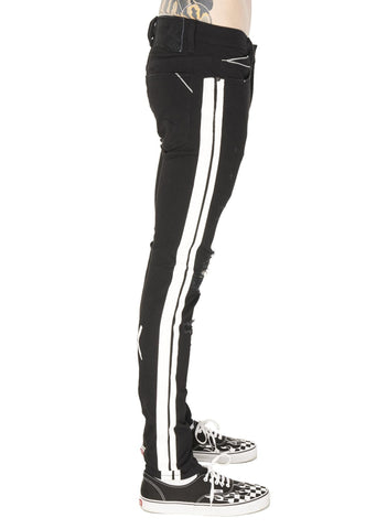 Punk Super Skinny Stripe Denim (Black) / C4