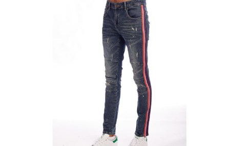 Distressed Prpl Stripe Denim (Dk Indigo) /C1