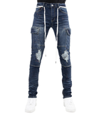 Distressed Outlaw Denim (Med Indigo) /C3