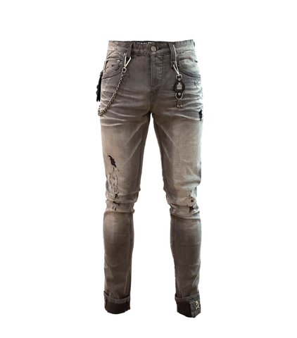 Distressed Ripped Wash Denim (Ape Grey) /C4