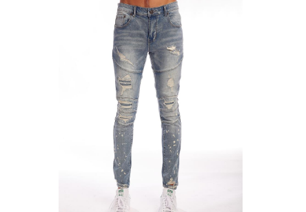 Distressed Rip Spot Denim (Md Indigo) /C6