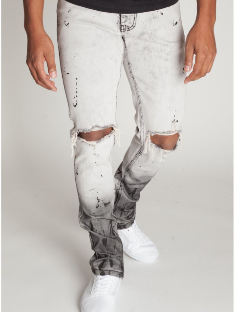 Paint Splatter Ankle Zip Denim (Ice Grey) /C5