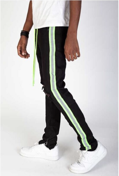 Safety Taped Stripe Denim (Black/Lime) /C3