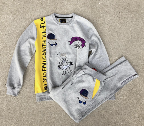 Blessed Emb Crewneck Set (Yellow/Grey) /D