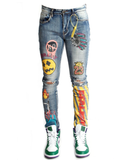 "507 ""Realistic"" Graphic Jeans (Mid Wash) /C9"