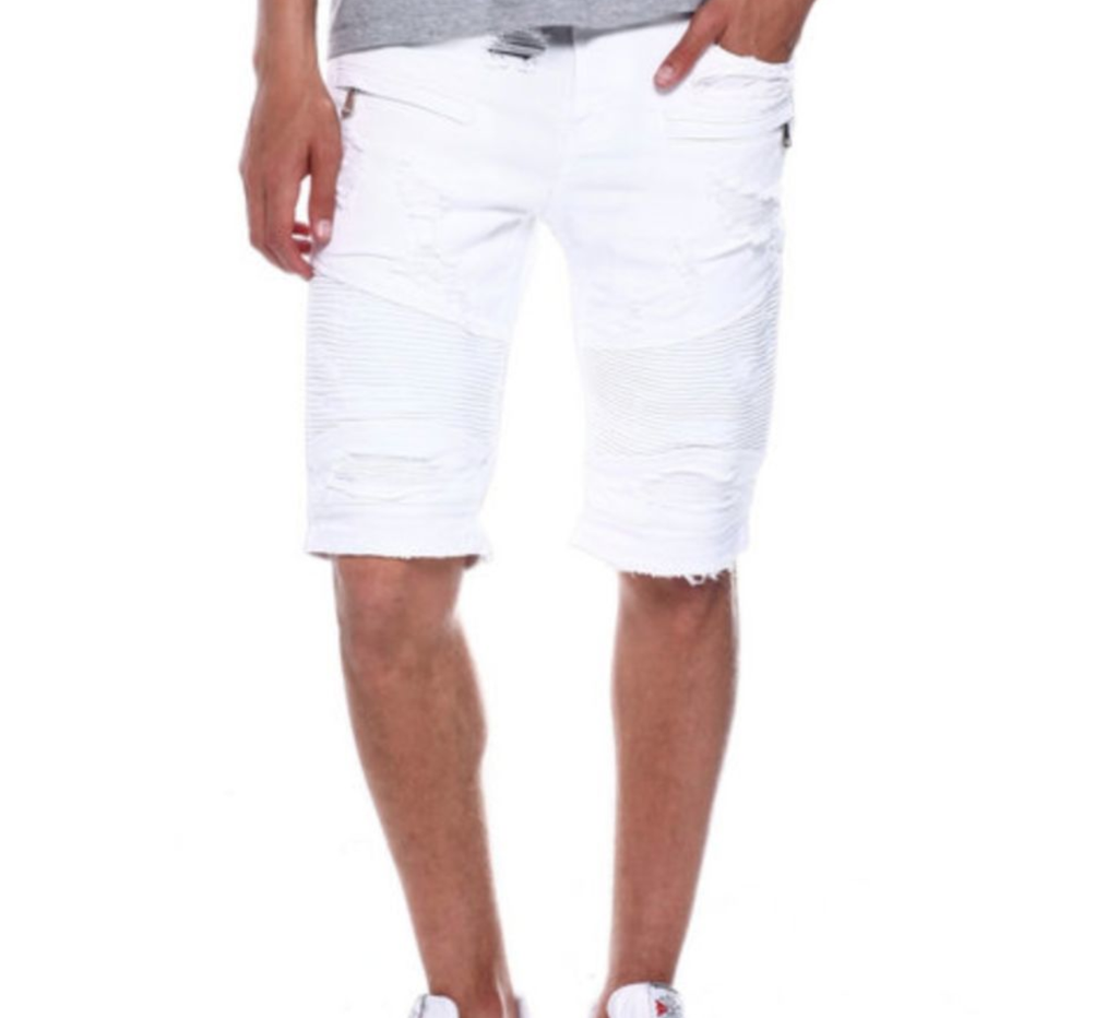 Distressed Biker Shorts (White) /C4