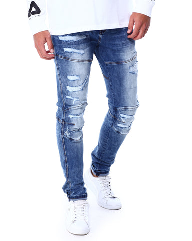 Slim Moto Ripped Jeans (Dark Stone Wash) / C4