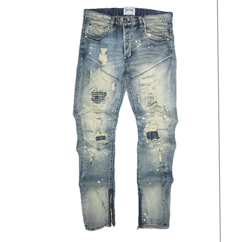 Ajax Biker Denim Jeans (Blue) /C4