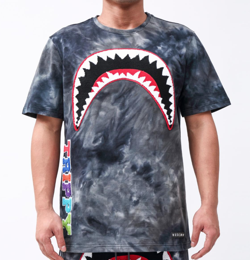 Trippy Tie Dye Shark Tee (Black)