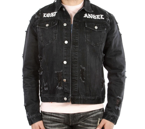 Lost Angel Zipper Denim Jacket (Black) /D4