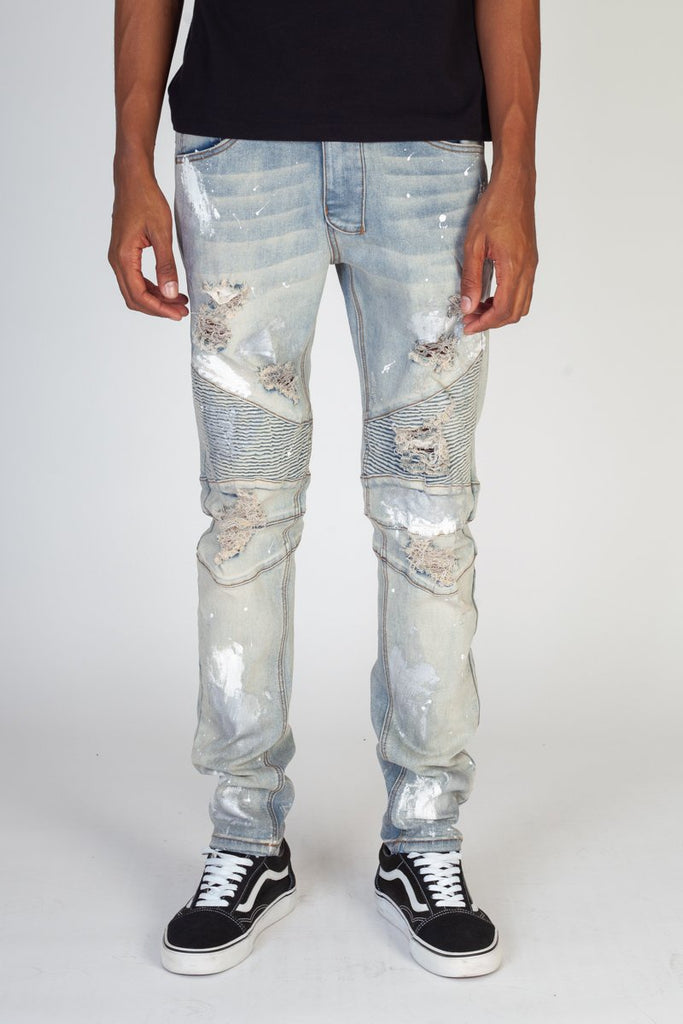 Metallic Paint Splatter Denim Jeans (Blue) / C5