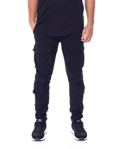 Slim Front Cargo Pocket Jeans (Black) / C1