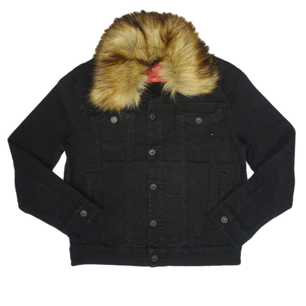 Denim Jacket W/Fur Trim (Black)/D5