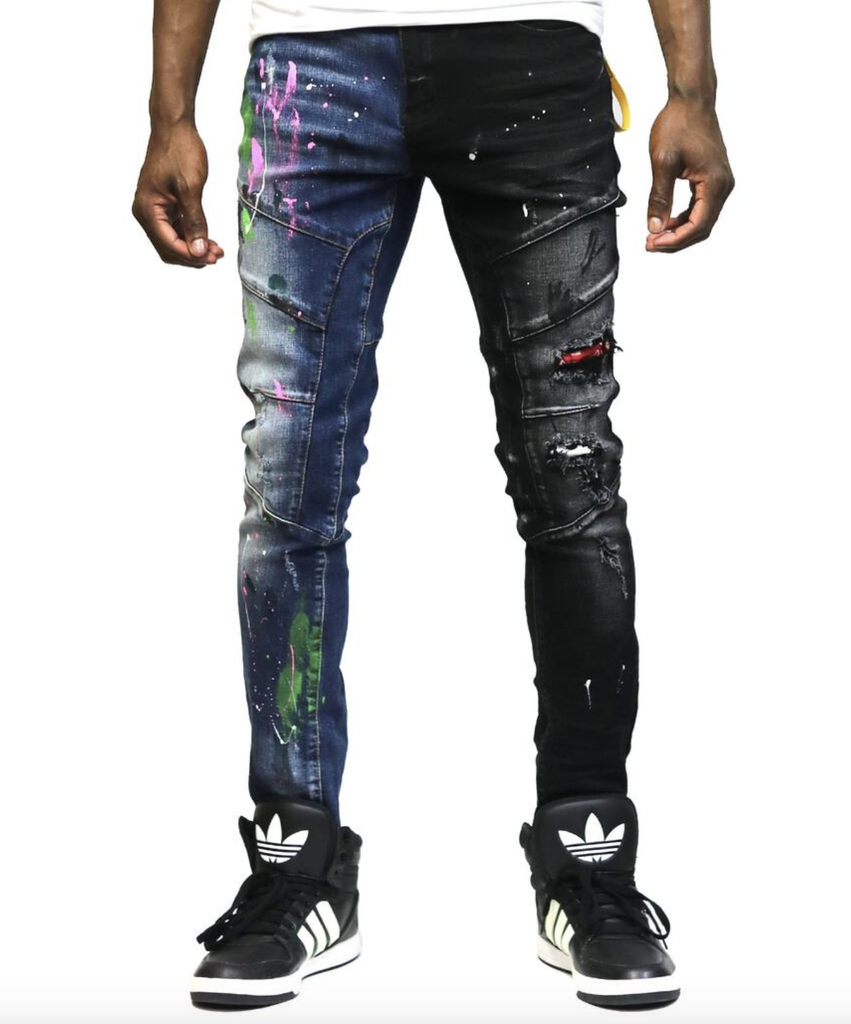 Aspen Heavy Washed Half and Half Denim (Blu/Blk)C8