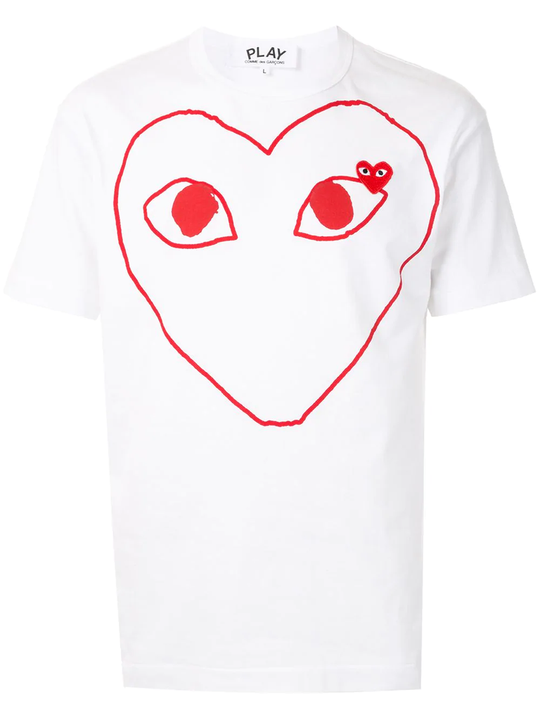 Large Heart Logo Tee (White/Red) / D9