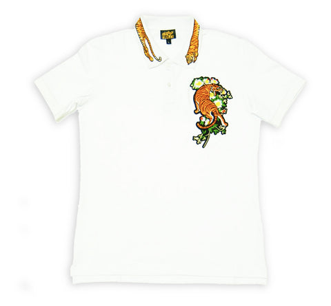 Tiger Embroidery Polo (White)