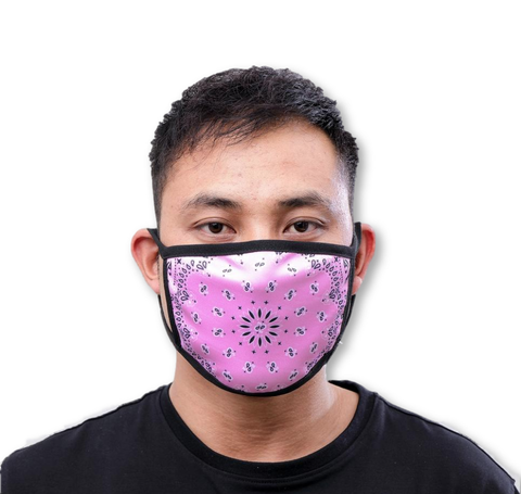 Solid Paisley Face Mask (Pink)