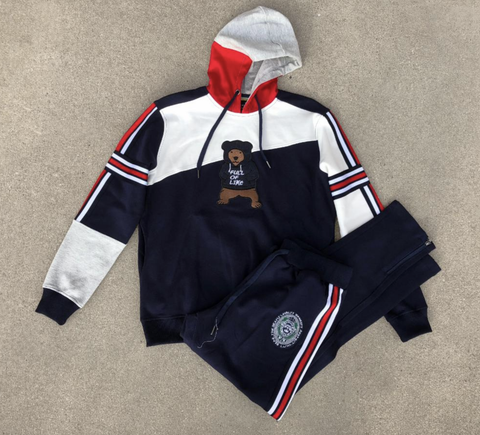 Stripes and Bear Hoodie Set (Navy) /D14