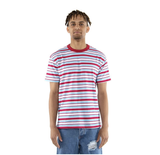 90's Stripe Tee (Burgundy/Sky Blue)