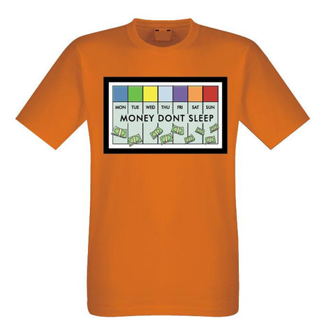 Money Don't Sleep Tee (Orange) / D16