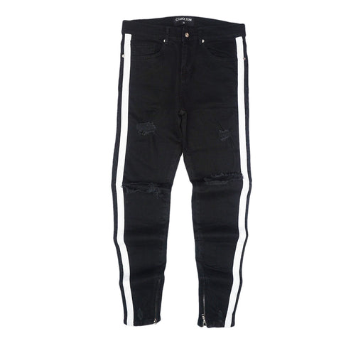 Double Striped Track Jeans V2 (Black/Wte)