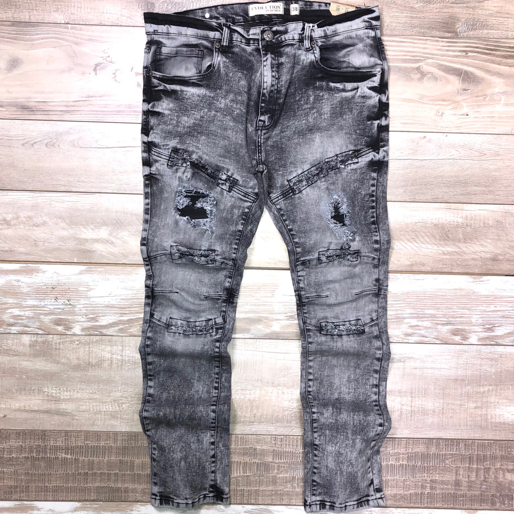 Distressed Wash Denim (Black/Grey Wash) /C1