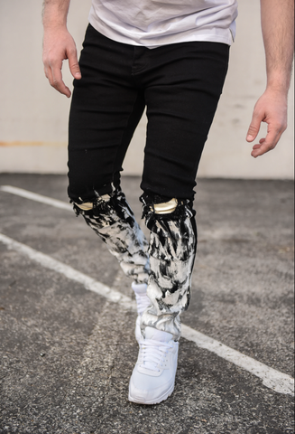 Jay Ankle Paint Splash Denim (Black) /C5