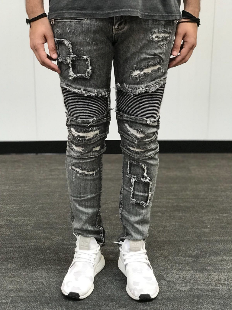 Distressed Biker Wash Denim (Grey/ Black Wash)/