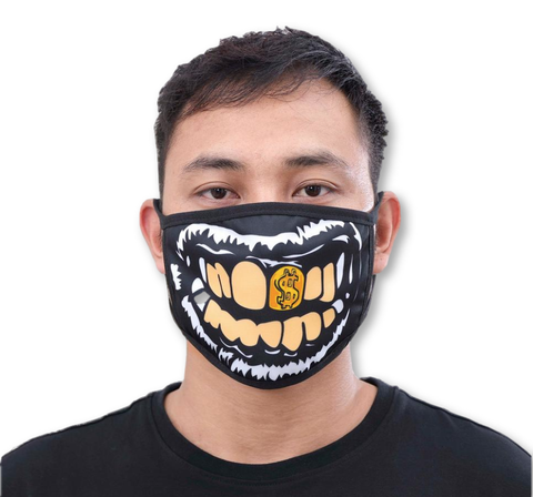 Golden Smile Face Mask (Black)