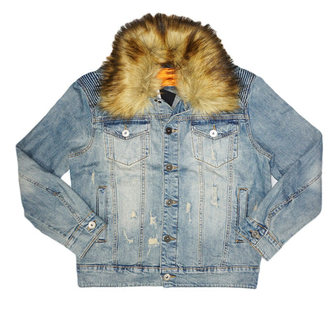 Denim Jacket w/Fur Trim (Indigo Blue)/D5