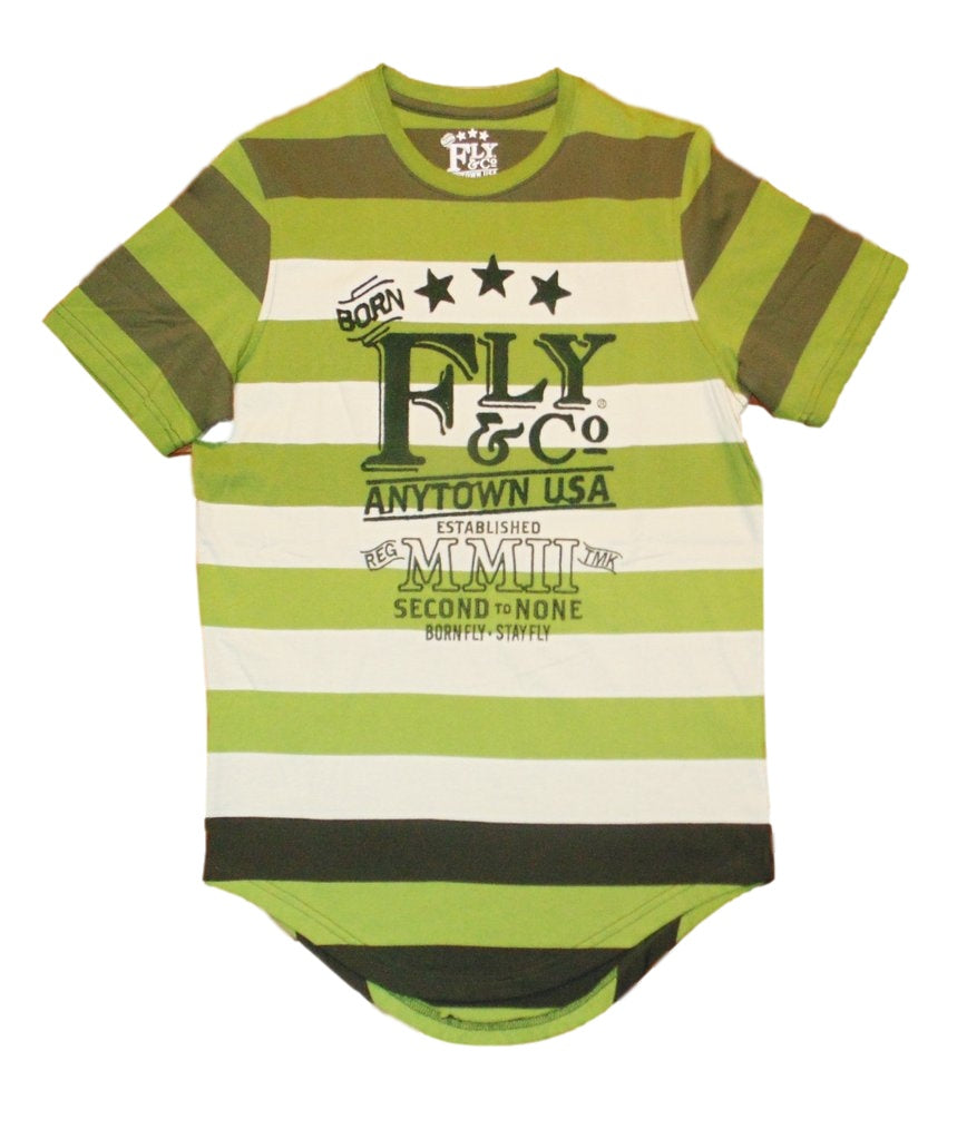 Born Fly- Green Terrain Striped Tee