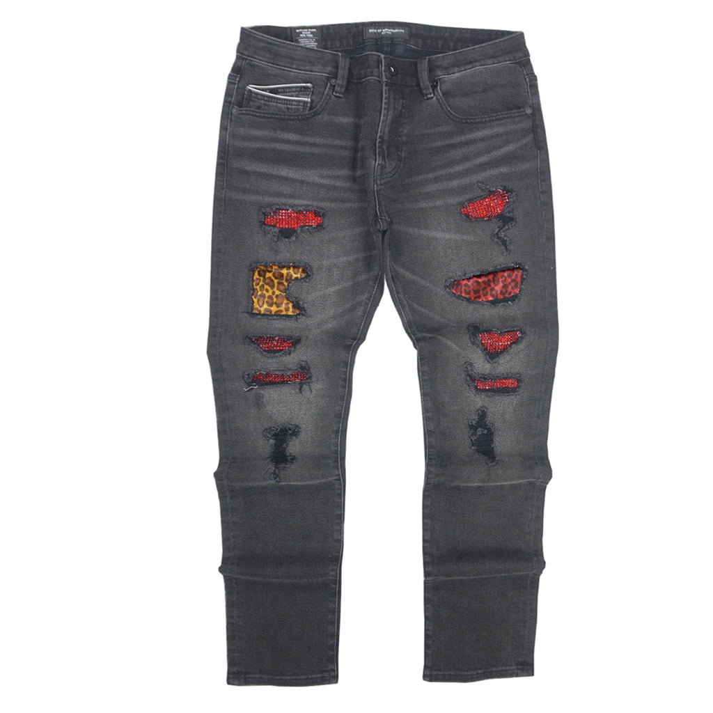 Destroyed Rocker Slim Stretch Denim (Mixer/Black) /C2