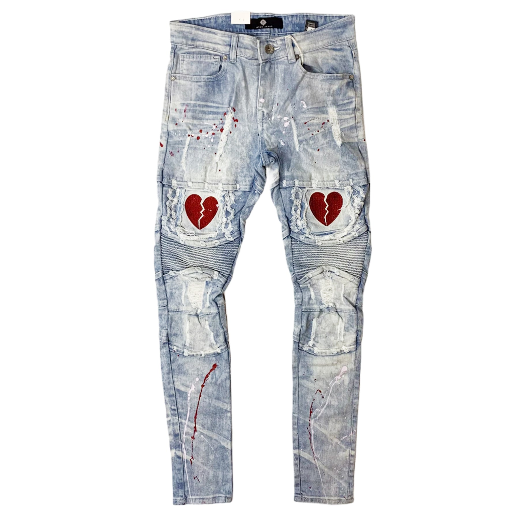 Heartbreak Distressed Biker Denim (Ice Lt. Blue) / C8