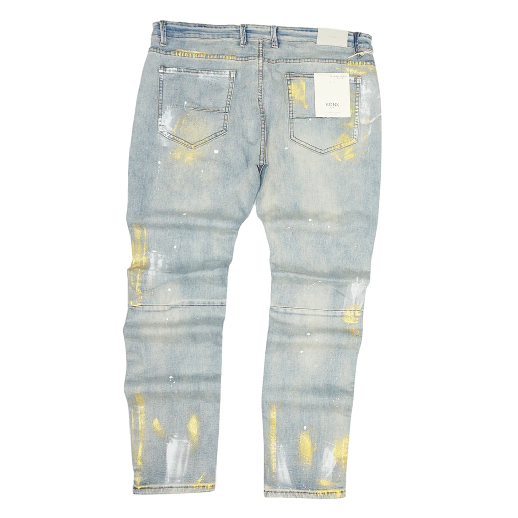 Distressed Gold Paint Brush Denim (Blue) /C1