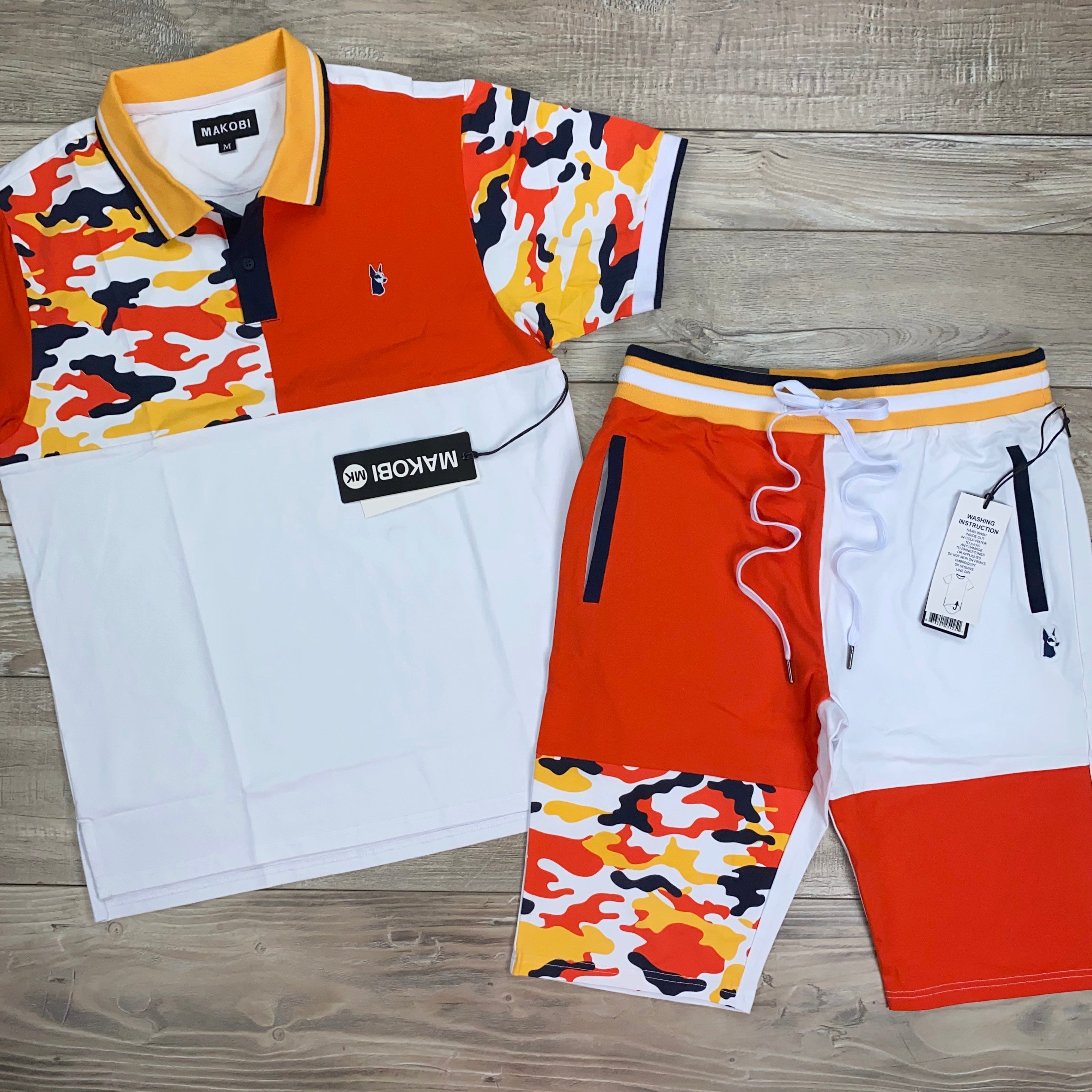 Camo Contrast Polo Set (White) /D17