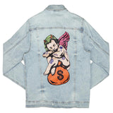 Angel Money Bag Denim Jacket (Light Wash)/D3