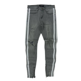 Double Striped Track Jeans (Grey/Wte) /C6
