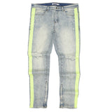 Painted Neon Stripe Denim (Lt. Indigo/Neon) /C6