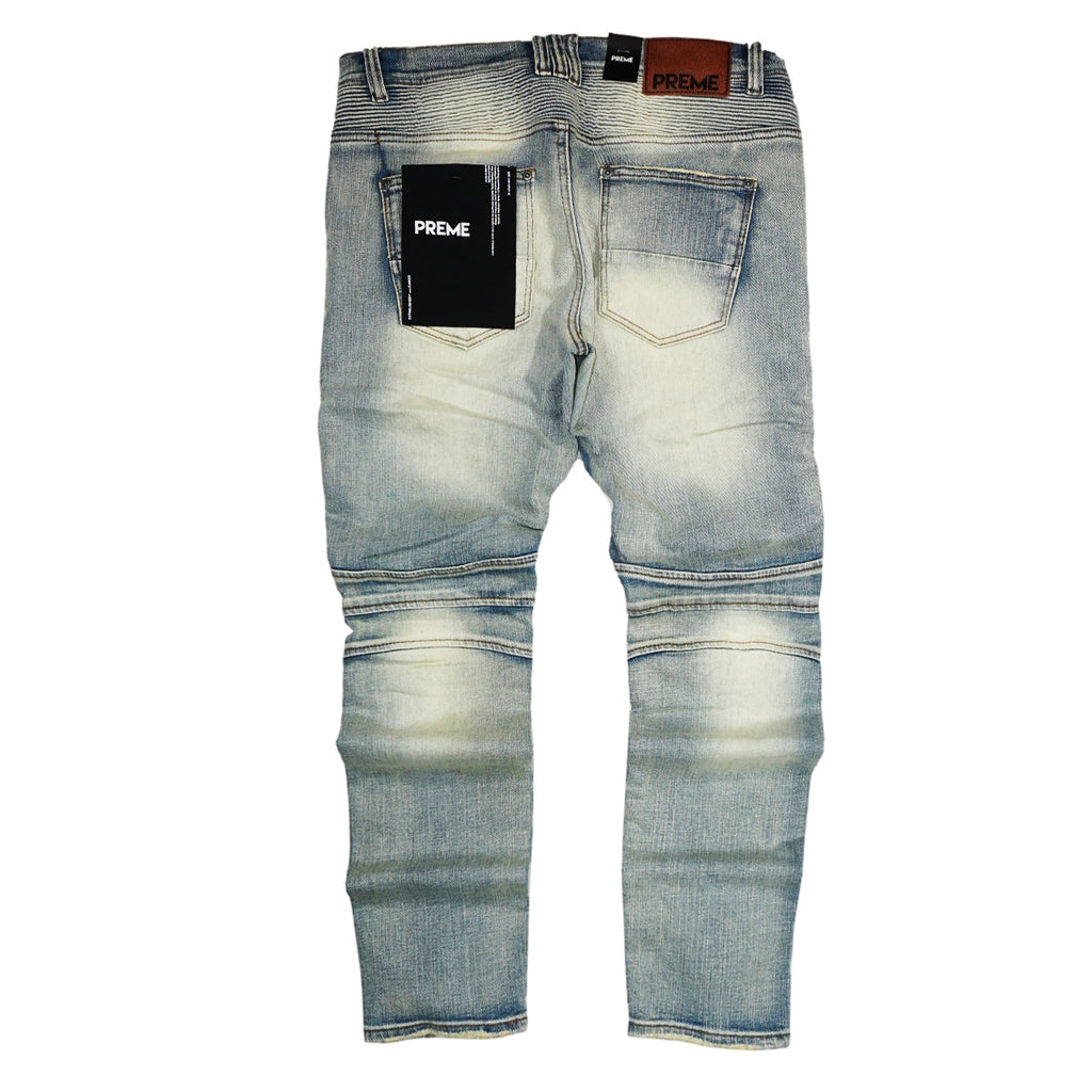 Biker Bleach Denim (Male 2 Indigo) /C6