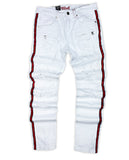 Distressed Biker Red Stripe Denim (Moscow White) /C5