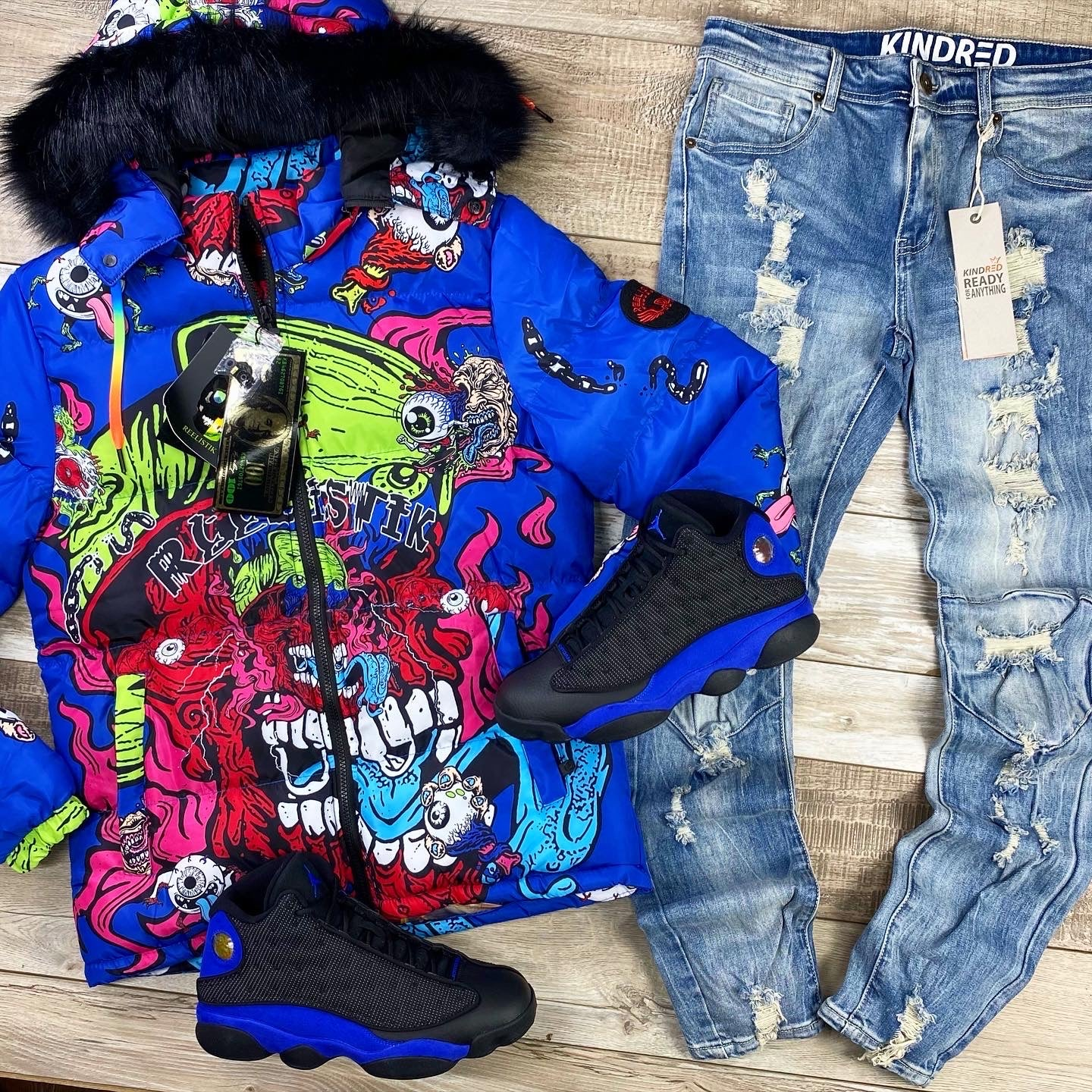 Optical Illusions Printed Puffer Jacket (Blue) /C3