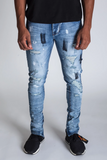 Painted Distressed Ankle Zip Denim (Tinted L.Blue) /D6