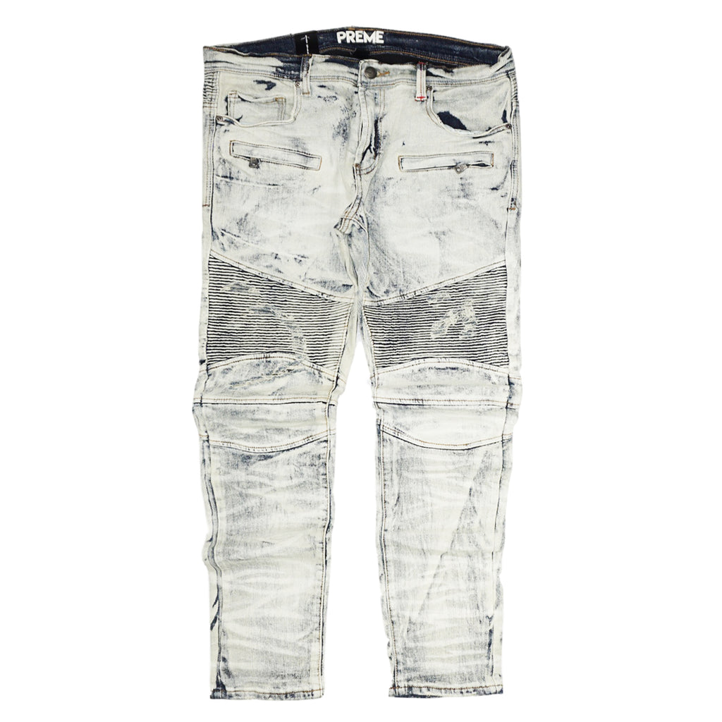 Biker Bleach Denim (Chicago Indigo) /C8