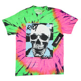 Riot Alone Black/Blue Tie-Dye Tee (Pink/Green ) /D2