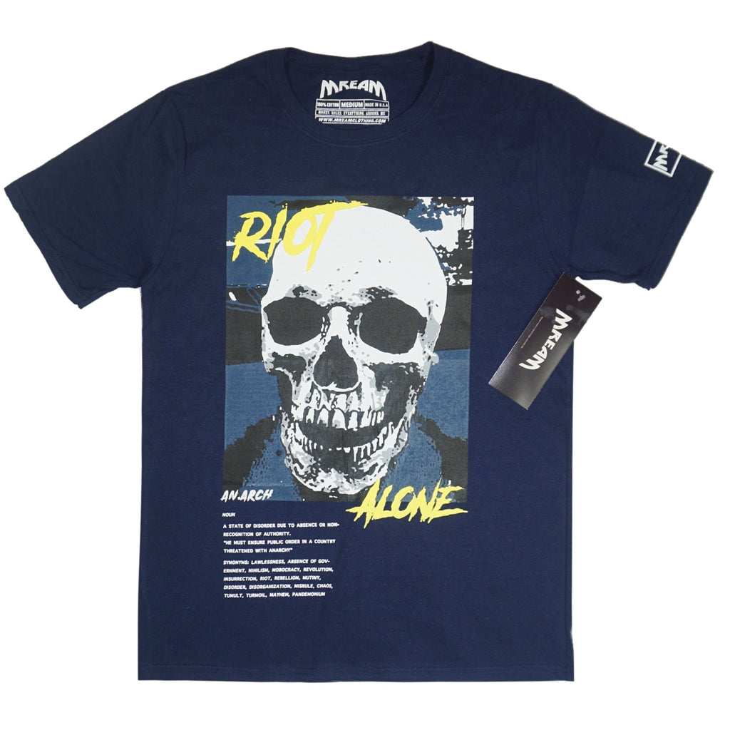 Riot Alone Yllw/Navy Tee (Navy) /D14
