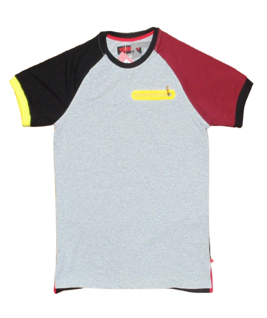 Ron Bass- Colorblock Short Sleeve Raglan T-Shirt (Light Grey)